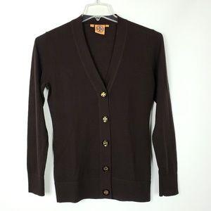 Tory Burch Merino Wool Cardigan- FLAWED- Brown- M
